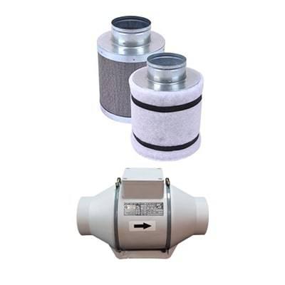 فیلتر کربن 30 سانتی به همراه فن بین کانالی دمنده ( با دهانه 15 سانتی متر)